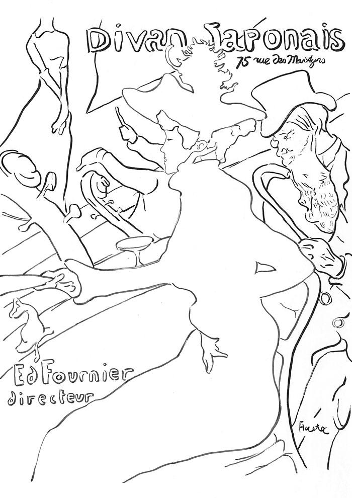 【塗り絵】ディヴァン・ジャポネ / ロートレック