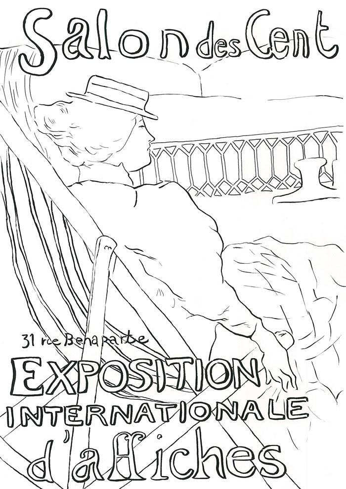【塗り絵】サロン・デ・サン54号室の女性 / ロートレック