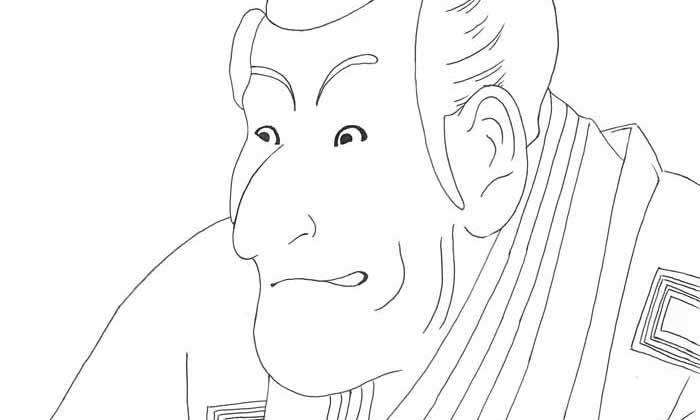 【塗り絵】四世市川蝦蔵の竹村定之進