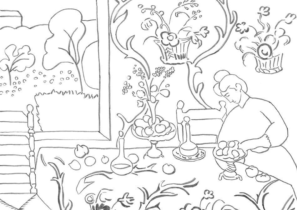 【塗り絵】赤のハーモニー/アンリ・マティス