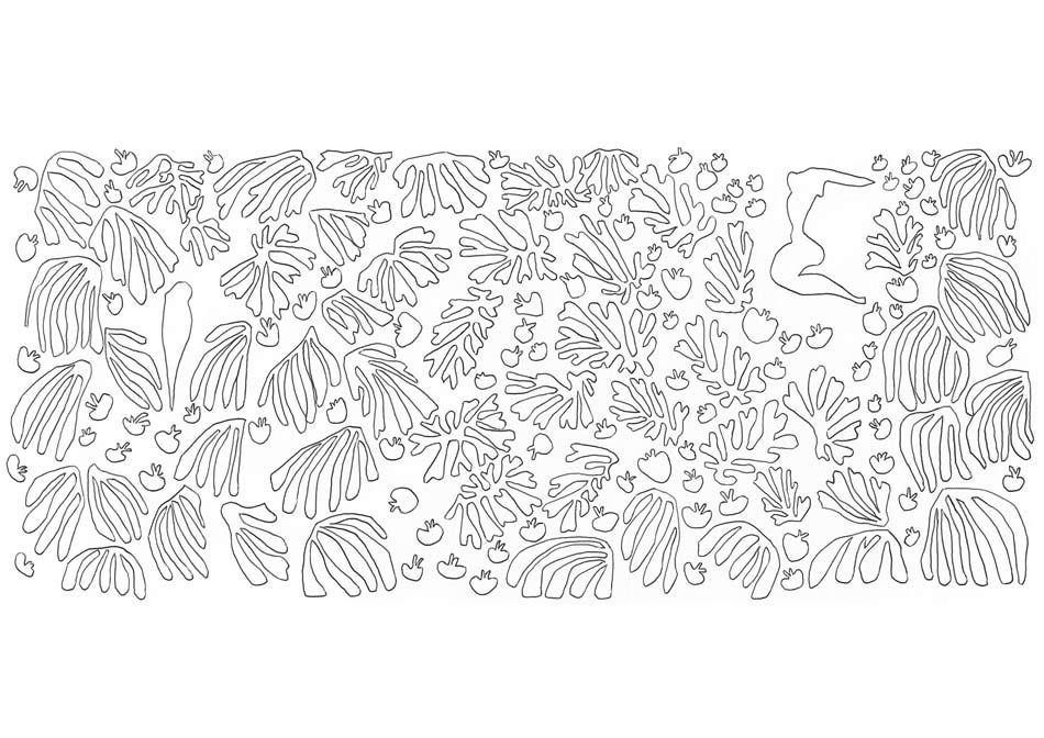 【塗り絵】ぺルーシェと人魚/アンリ・マティス