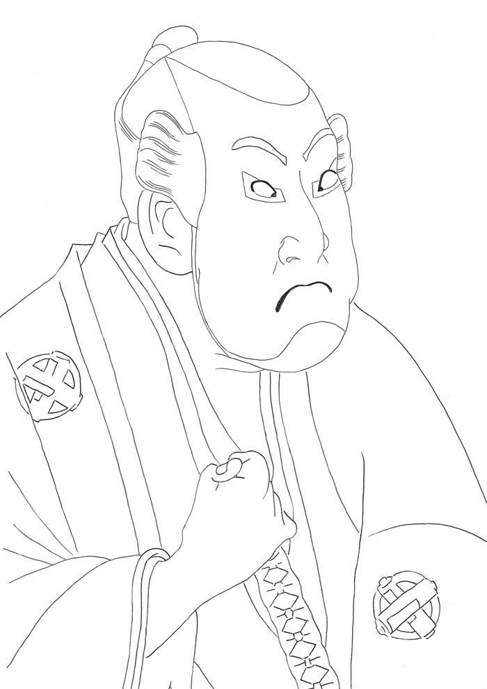 【塗り絵】谷村虎蔵の鷲塚八平次_東洲斎写楽