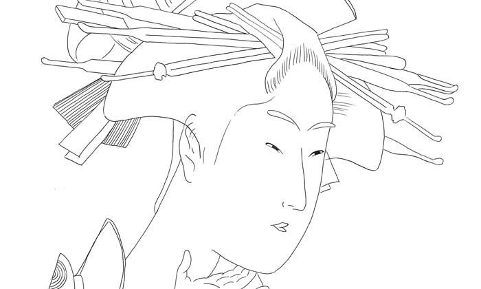 【塗り絵】五人美人愛敬競 松葉屋喜瀬川/喜多川歌麿