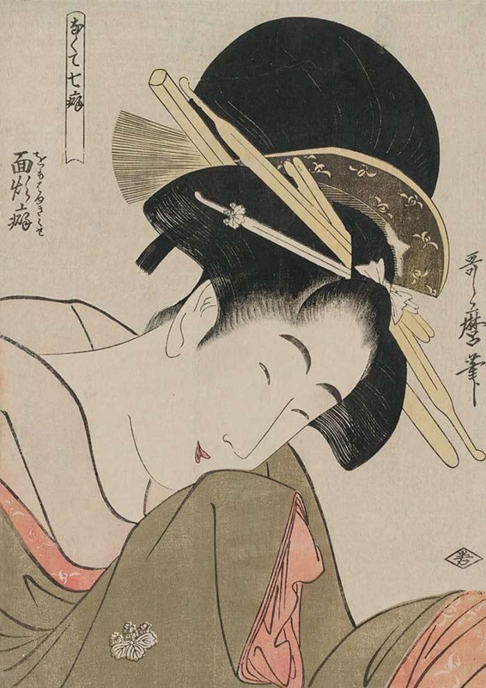 【色見本】なくて七癖 面頬癖/喜多川歌麿